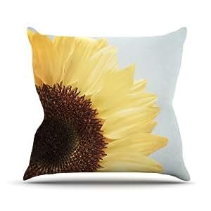 "Kess InHouse Susannah Tucker ""Sunshine"" Sunflower Outdoor Throw Pillow, 18 by 18-Inch"