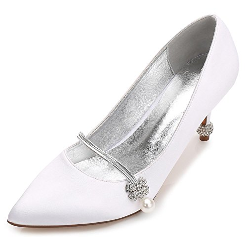 L@YC Weibliche Hochzeitsschuhe F17767-39 Strass Satin Hochzeit & Fine Schuhe abend Plattform White