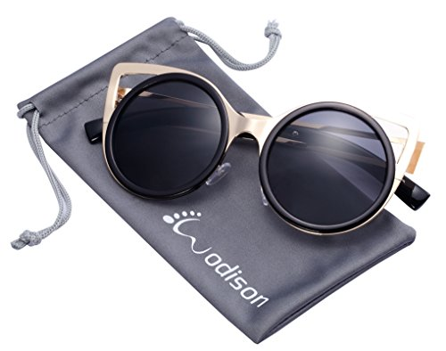 WODISON Womens Retro Mental Frame Round Lens Cat Eye Sunglasses Eyeglasses Gold Frame Black Lens