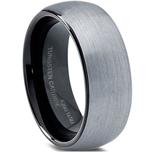 King Will 8mm Tungsten Carbide Wedding Band Ring for Men with Black Plated Enamel Domed(12)
