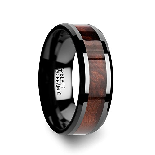 CERISE Redwood Inlaid Black Ceramic Ring with Beveled Edges - 8mm - Cerise Ceramic