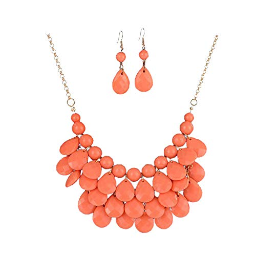 Zthread Floating Bubble Necklace Layered Teardrop Statement Necklace Resin Beaded Collar Necklace Earrings Jewelry Set for Women (Coral)