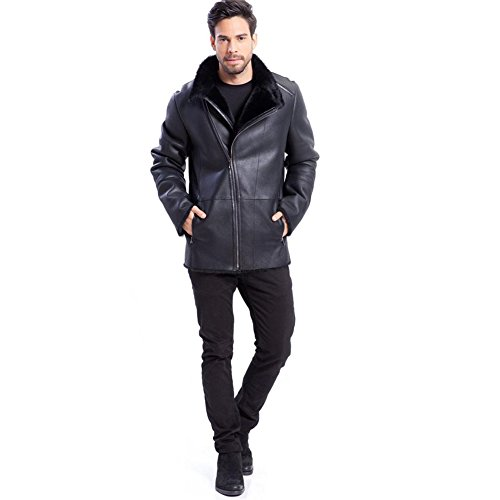 Mens Leather Shearling Jacket Warm Exposed Shearling Notched Collar Black Business Casual Coat Leather (Black, XXL) (Fur Notched Collar Coat)