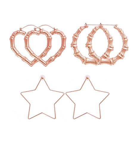 HSWE Casting Statement Hoop Earrings Set for Women Statement Hammered Geometric Bamboo Shaped Hoops Jewelry Set of 3 Pairs (rose gold)