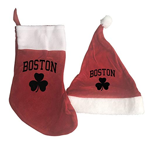 Boston Christmas Santa Stocking and Hat Set for Holiday Party Events