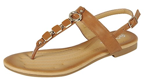 Forever Link Nia-22 Women's Embellished Beaded Metallic Chain Dress Thong Sandal,Tan,8.5