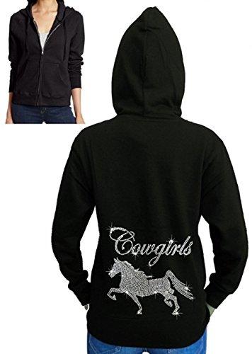 Juniors Cowgirl Horse Rhinestone Fleece Zipper Hoodie Black S-2XL (XL (Juniors), Black)