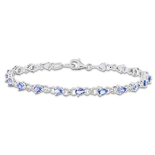 JewelryWeb bracelet en argent sterling avec tanzanite et diamant