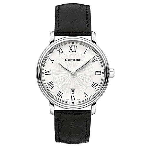 Montblanc Tradition Date White Guilloche Dial Black Leather Mens Watch (Black Guilloche Dial)