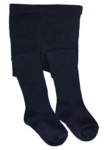 Baby Tights Blue - BEAR MUM Baby Girls' Seamless Organic Cotton Tights Navy 6-12Month