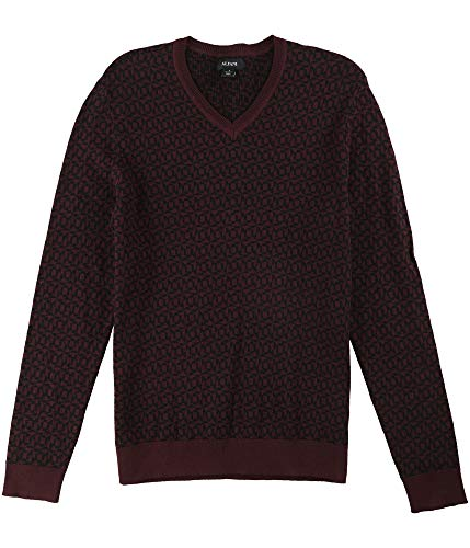 Alfani Mens Printed Long Sleeves Pullover Sweater Red L from Alfani