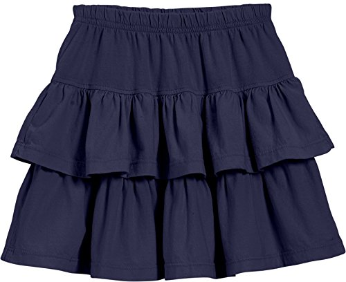 City Threads Little Girls' Cotton Jersey Layered Tiered Skirt for School, Party Or Play Perfect for Sensitive Skin and Sensory Friendly SPD, Navy, 4T]()