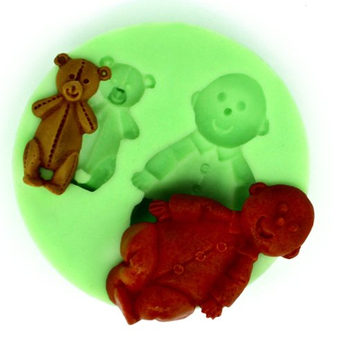 Longzang Small Boy and Bear F0309 Fondant Mold Silicone Sugar mold Craft Molds DIY gumpaste flowers Cake Decorating