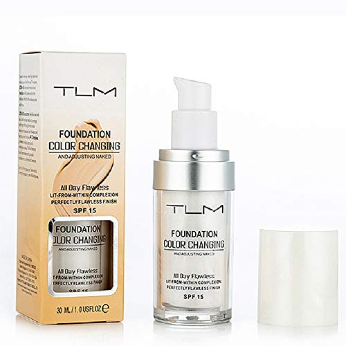 TLM Flawless Colour Changing Warm Skin Tone Foundation Makeup Base Nude Face Moisturizing Liquid Cover Concealer for Women Girls SPF15 (1PCS)