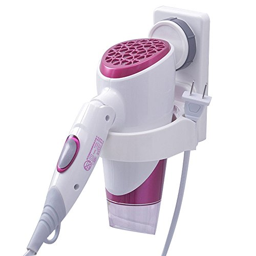 Bathroom Hair Dryer Holder with Suction Cup Lock Wall Mount Household Plastic Hair Dryer Organizer Rack
