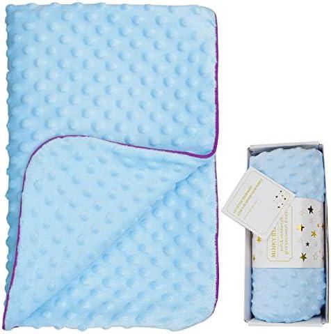 UKIN ミンキーベビーベッド用ブランケット 新生児 男の子 女の子 ギフト 二層掛け おくるみ 毛布 柔らかいぬいぐるみ 幼児 乳児 ブルー 30 x 40インチ