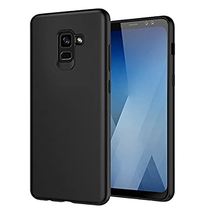 hot sale online 021a1 c34c7 Tarkan Royal Slim Flexible Soft Back Case Cover for Samsung Galaxy A8 Plus  A8+ [Matte Black] 360 Degree Coverage