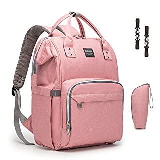 Diaper Bag Backpack Erdoran Multifunction Waterproof Travel Baby Bag with USB Charging Port for Mom, Large Capacity, Stylish and Durable, Pink