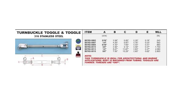 """S0783-0013 316  STAINLESS STEEL TOGGLE /& TOGGLE TURNBUCKLE 1//2/"""""""