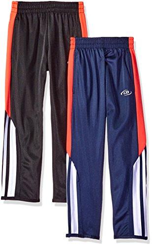 CB Sports Big Boys' 2 Active Performance Tricot Soccer Pant, Pack Black/Navy, 14/16