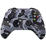 YoRHa Water Transfer Printing Camouflage Silicone Cover Skin Case for Microsoft Xbox One X & Xbox One S controller x 1(snow) With PRO thumb grips x 8