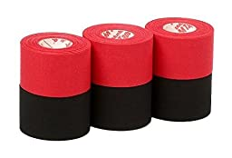 Mueller Athletic Tape Sports Tape, Red and Black 6 rolls