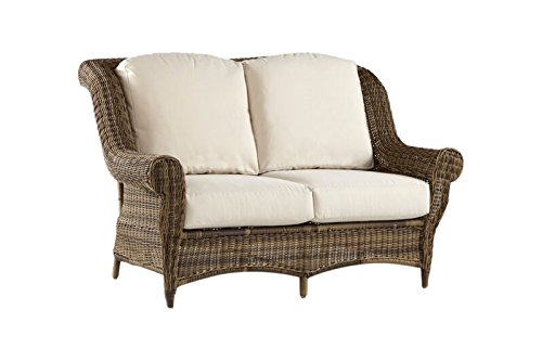 - South Sea Rattan Providence Collection Loveseat with Cushions, Canvas
