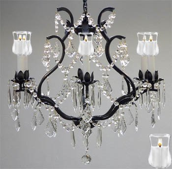 """WROUGHT IRON CRYSTAL CHANDELIER LIGHTING With Candle Votives H 19"""" W 20"""" - Great for Bedroom, Kitchen, Dining Room, Living Room, and More!"""