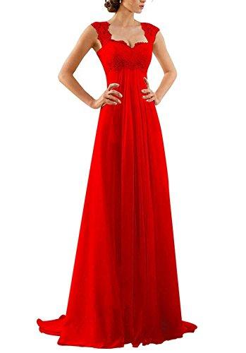 Brautjungfernkleider Damen Rot Lang Hochzeit Schatzhals Brautkleid Abendkleider Beyonddress Partykleider Elegant Pxfz00RW