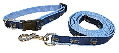 Preston Classic Blue Crab Dog Collar and Leash Set – Blue Crab on Navy Blue Ribbon with Light Blue Nylon Webbing