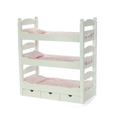 18 Inch Doll White Triple Detachable Trundle Bunk Bed | Furniture Made to Fit American Girl or Other