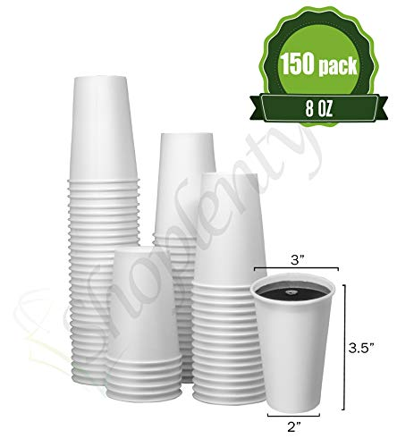 - Hot White Paper Cups 8 oz - 150 Count - Disposable Paper Cups for Coffee, Tea, Hot Chocolate (Restaurant Grades)