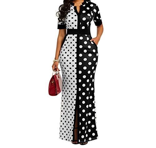 VERWIN Polka Dot Print Pocket Short Sleeve Bodycon Dress Women's Slit Maxi Dress L