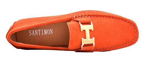 Santimon Heren Lederen Instapper Toevallige Gesp Loafer Rijden Heren Autoschoenen Moc Schoenen Oranje-goud