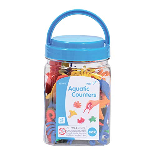 edx education Aquatic Counters - Mini Jar - Learn Counting, Colors, Sorting and Sequencing - Math Manipulative 13151