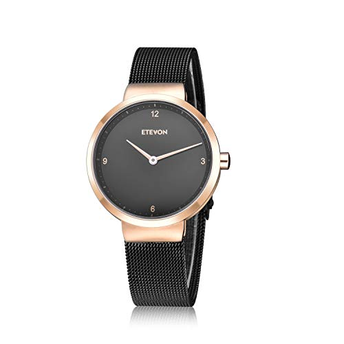 - ETEVON Women's Quartz Analog Watch with Stainless Steel Band and Ultra-Thin Mesh Bracelet Waterproof, Simple Dress Wrist Watches for Women - Black