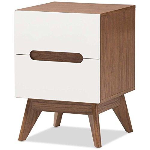 Baxton Studio 2-Drawer Storage Nightstand in White and Walnut Brown Finish - Nightstand Brown Finish