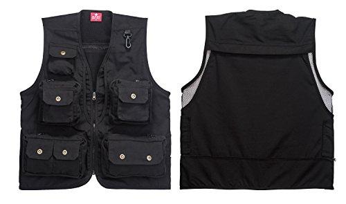 HJGBEDS Boy Mens Fishing Vest Photographer's Vest Wild Survival Jacket Black XL