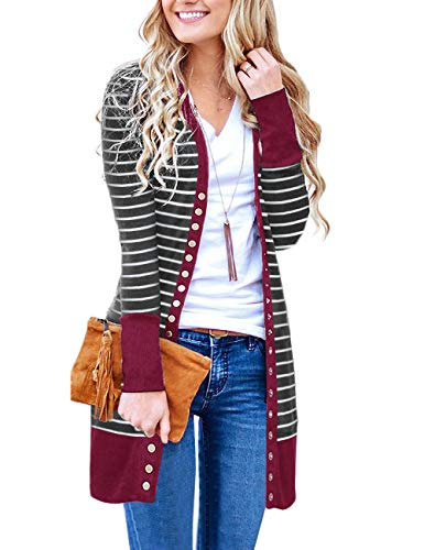 MEROKEETY Women's V Neck Striped Long Sleeve Snap Button Down Ribbed Contrast Color Cardigan ()