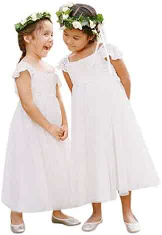 a9cde36b23 Gzcdress Boho Flower Girl Dress with Sleeves Lace Bohemian Beach Holy  Communion Dresses Ankle Length