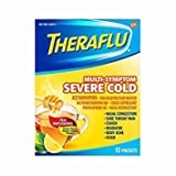 Theraflu MultiSymptom Severe Cold with Green Tea & Honey Lemon Hot Liquid Powder for Cough & Cold Relief, 12 count - Pack of 5