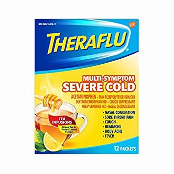 Theraflu MultiSymptom Severe Cold with Green Tea & Honey Lemon Hot Liquid Powder for Cough & Cold Relief, 12 count - Pack of 6