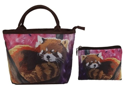 Silver Panda Coin Set (Red Panda Small Handbag Set - Matching Purse and Coin Purse, Great Gift! From My Original Painting, Shy Beauty- Support Wildlife Conservation - Read How)