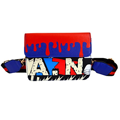 Kennedy Fashion Girl Graffiti Print Shoulder Bag Colorful Strap Crossbody Bag Satchel Art Theme Handbag Blue