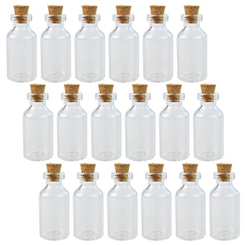 Wobe 30pcs 5ml Cork Jar Glass Bottles DIY Decoration Mini Glass Bottles Sample Jars, Small Vials Cork, Tiny Message Glass Bottle Cork Stoppers, Wedding Decoration, Wish Jewelry Party Favor