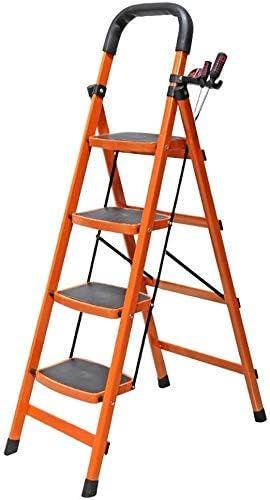 JLDN Escalerilla, 4 Peldaños Escalera Plegable con Apoyabrazos Resistente y Ancha Antideslizantes escaleras de Tijera Multiusos hogar,Orange: Amazon.es: Hogar