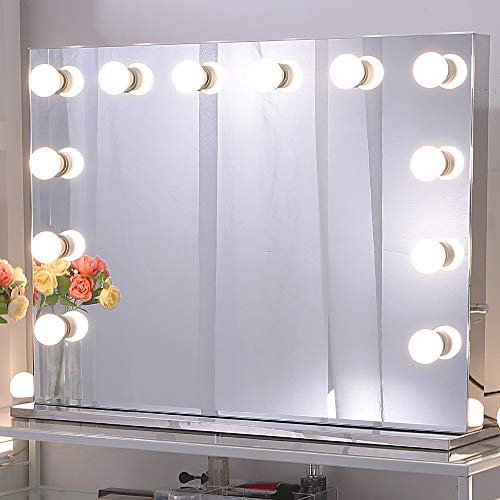 Chende Hollywood Makeup Vanity Mirror with Light Tabletops Lighted Mirror with Dimmer, LED Illuminated Cosmetic Mirror with LED Dimmable Bulbs, Lighting Mirror