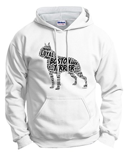 Dog Lover Birthday Gift Boston Terrier Word Art Dog Puppy Owner Gift Hoodie Sweatshirt Medium White