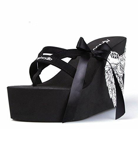 Pajarita Para Tacón Exterior Desgaste Negro Flip Grueso Flops Mujer Alto Scloths Inferior Chanclas 6Wqv5xzcOw