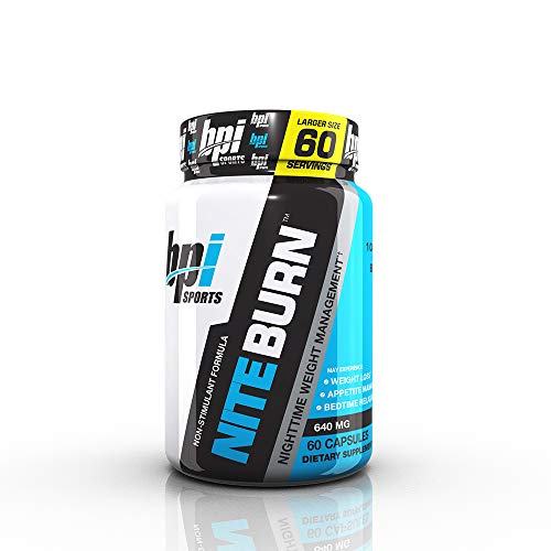 (BPI Sports Nite Burn - Fat Burner - Sleeping Pill - Keto-Friendly - Weight Loss, Burn Fat, Relaxation, Boost Metabolism - 60 Servings - 640mg)